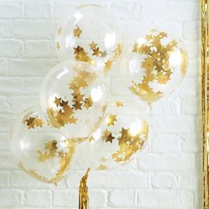 Balões com Confetis Estrelas Douradas Látex, 5 unid.