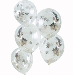 Balões com Confetis Estrelas Prateadas Látex, 5 unid.