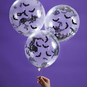 Balões com Confetis Morcegos, 5 unid.