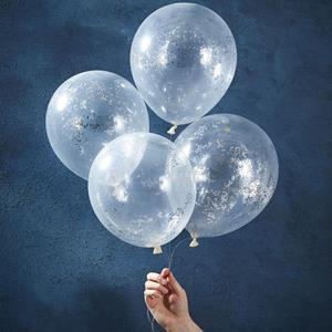 Balões com Confetis Prateados Latex, 5 unid.