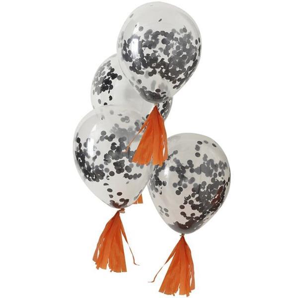 Balões com Confetis Pretos Látex, 5 unid.