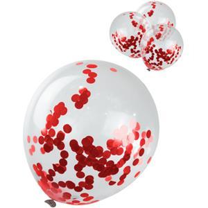 Balões com Confetis Vermelhos, 4 unid.