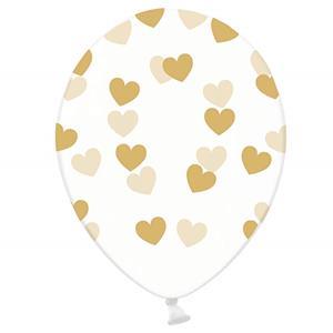 Balões Corações Dourados, Látex, 30 Cm