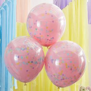 Balões Dupla Camada em Látex com Confetis Pastel, 3 unid.