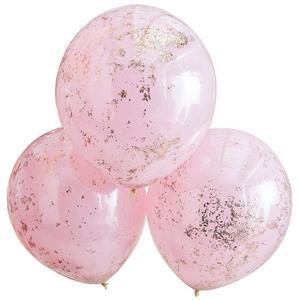 Balões Dupla Camada em Látex Rosa com Confetis, 3 unid.