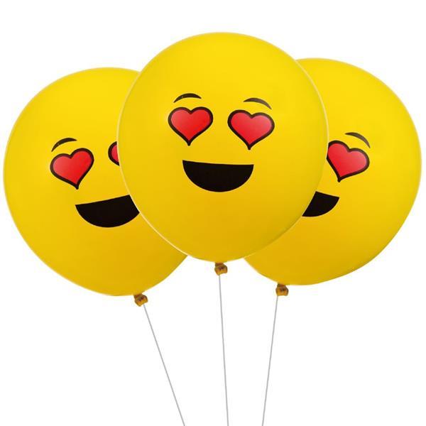Balões Emojis Olhos Corações Látex, 5 unid.