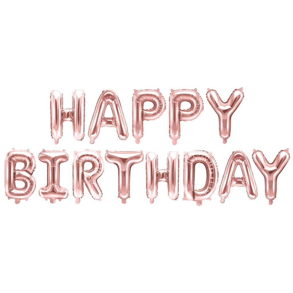 Balões Letras Happy Birthday Rosa Gold, 340 x 35 cm