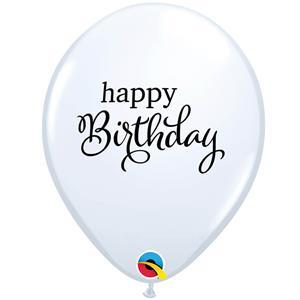 Balões Happy Birthday Branco Látex, 6 unid.