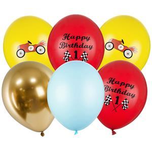 Balões Happy Birthday Carros Látex, 6 unid.