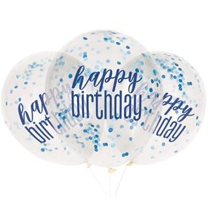 Balões Happy Birthday com Confetis Azul Látex, 6 unid.