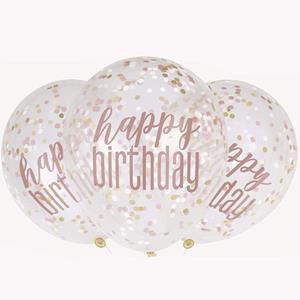Balões Happy Birthday com Confetis Rosa Gold Látex, 6 unid.