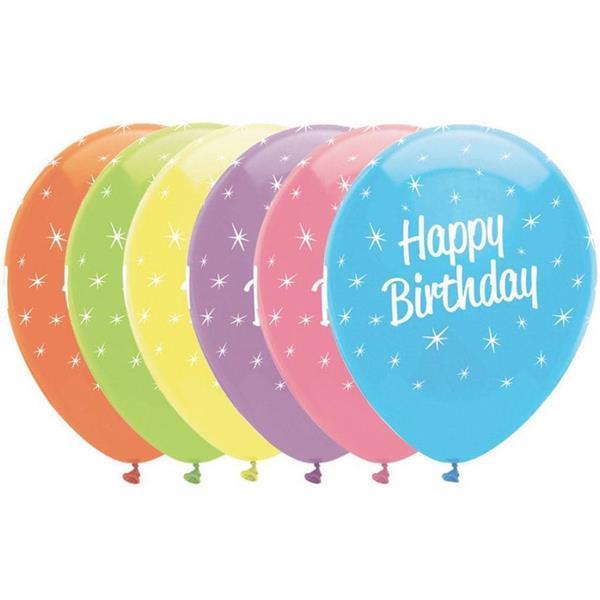 Balões Happy Birthday Multicolor Pastel Látex, 30 cm