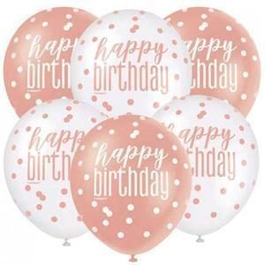 Balões Happy Birthday Rosa Gold e Branco Látex, 6 unid.