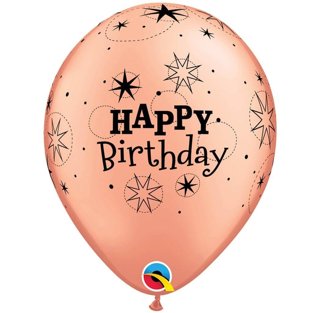 Balões Happy Birthday Rosa Gold Sparkle Látex, 6 unid.