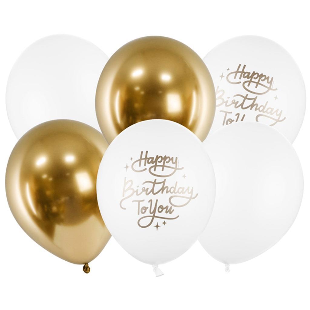 Balões Happy Birthday To You Branco e Dourado Látex, 6 unid.