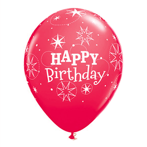 Balões Happy Birthday Vermelho em Látex, 6 unid.