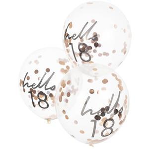 Balões Hello 18 com Confetis Rosa Gold Látex, 5 unid.