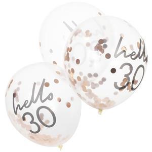 Balões Hello 30 com Confetis Rosa Gold Látex, 5 unid.