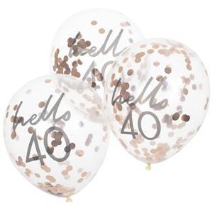 Balões Hello 40 com Confetis Rosa Gold Látex, 5 unid.
