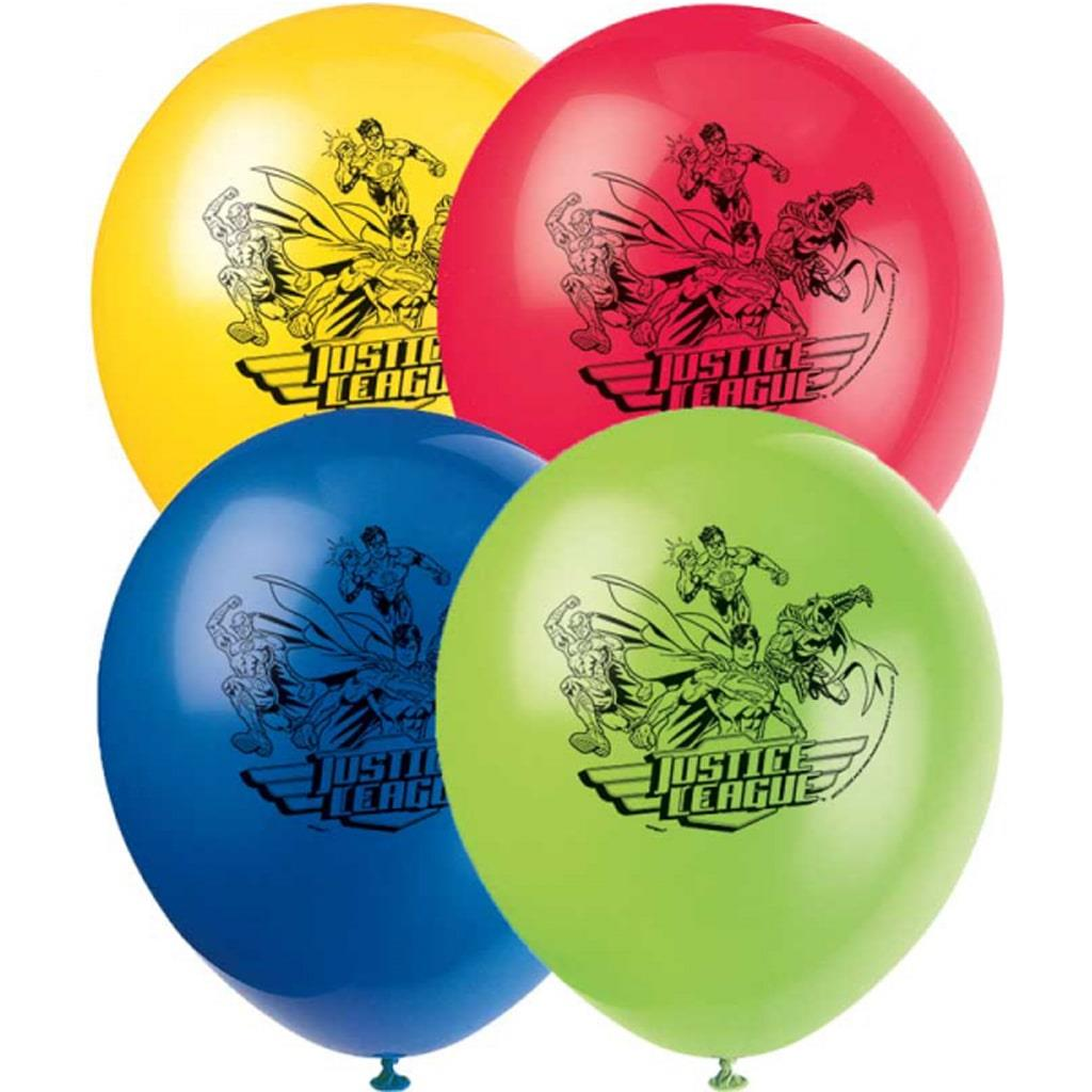 Balões Justice League Multicolor Látex, 8 unid.