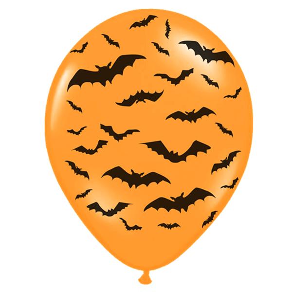 Balões Laranja Morcegos, 6 Unid.