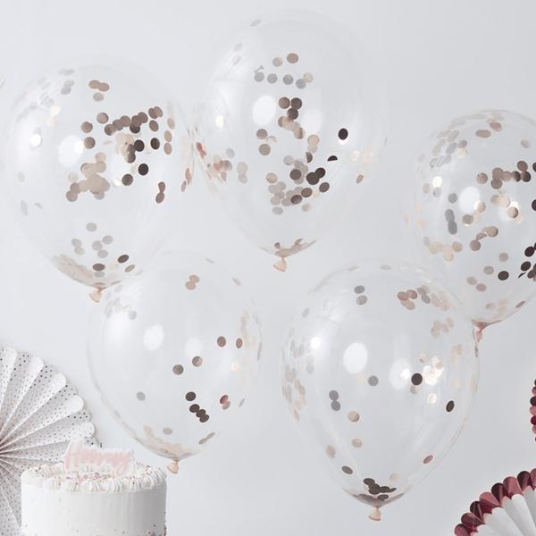 Balões Latex com Confetis Rosa Gold, 30 Cm, 5 unid.