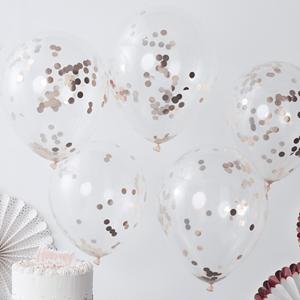 Balões Latex com Confetis Dourados, 30 Cm, 5 unid.