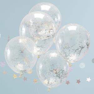 Balões Latex com Confetis Iridescentes, 30 Cm, 5 Unid.