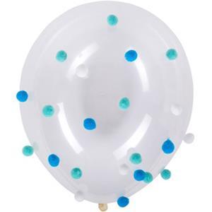 Balões Latex com Pompons Azul e Branco, 5 unid.