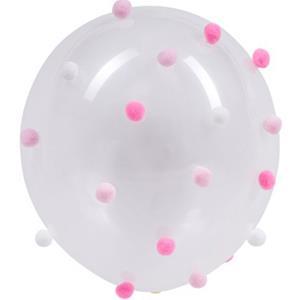 Balões Latex com Pompons Rosa e Branco, 5 unid.