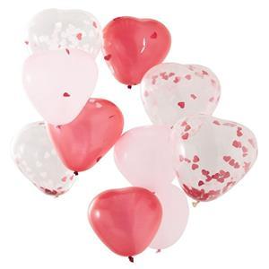 Balões Latex Coração com Confetis, 30 Cm, 10 Unid.