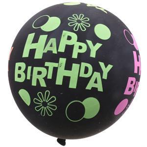 Balões Látex Happy Birthday Neon, 4 unid.