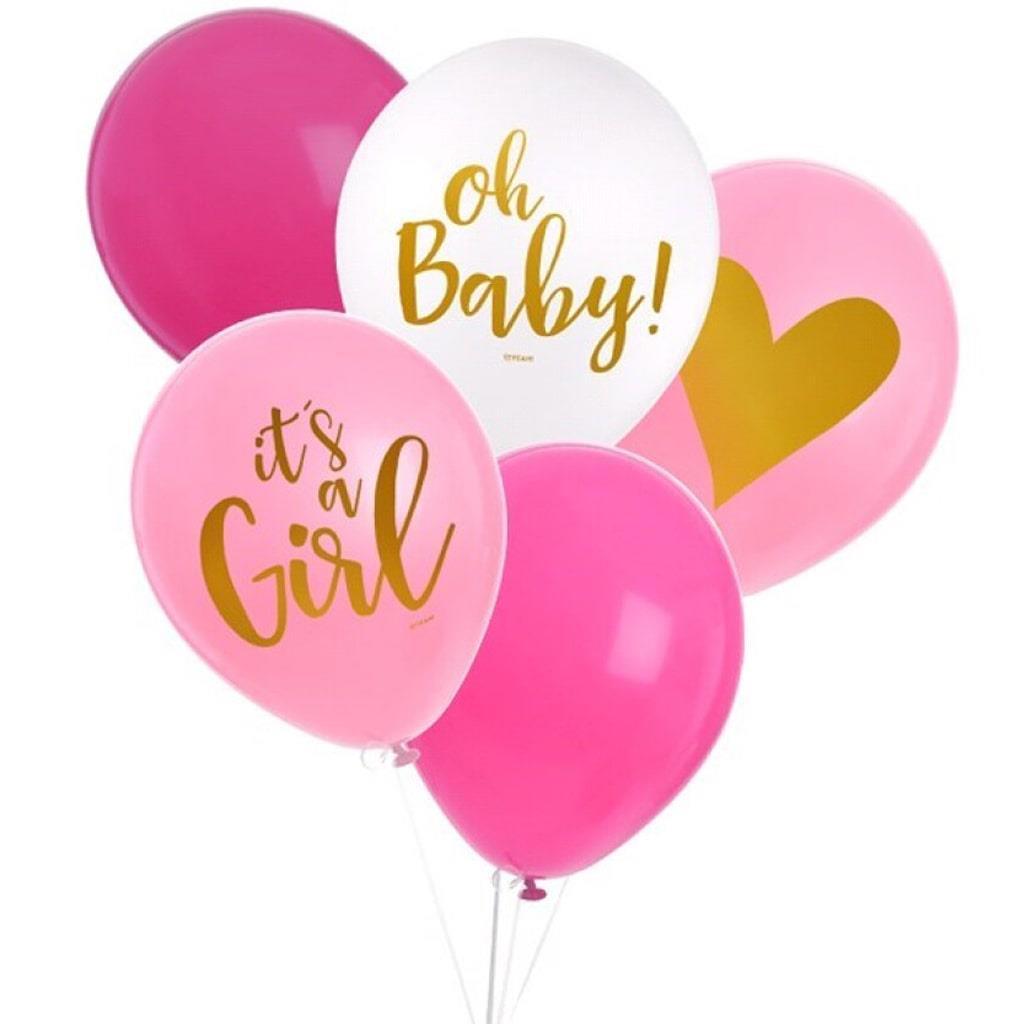 Balões Látex Rosa It´s a Girl, 8 unid.