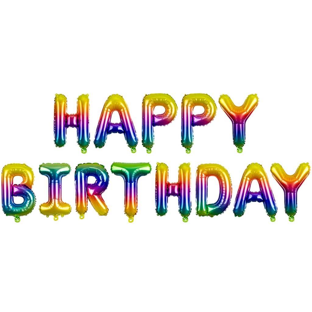 Balões Letras Happy Birthday Arco-íris Foil, 3 mt