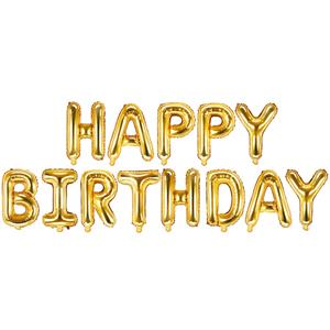 Balões Letras Happy Birthday Dourado, 340 x 35 cm