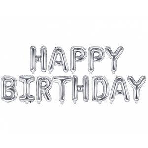 Balões Letras Happy Birthday Prateado, 340 x 35 cm