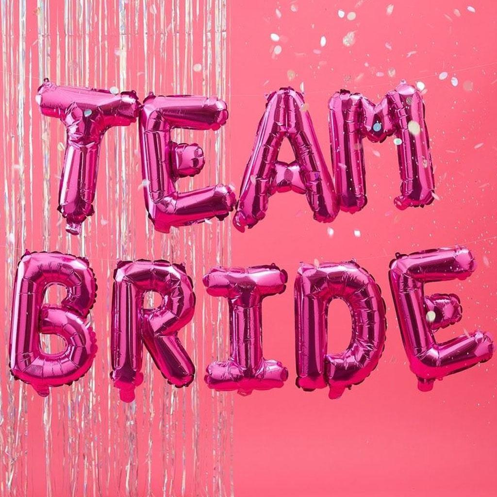 Balões Letras Team Bride Rosa Foil