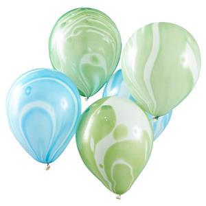 Balões Mármore Azul e Verde, 10 Unid.