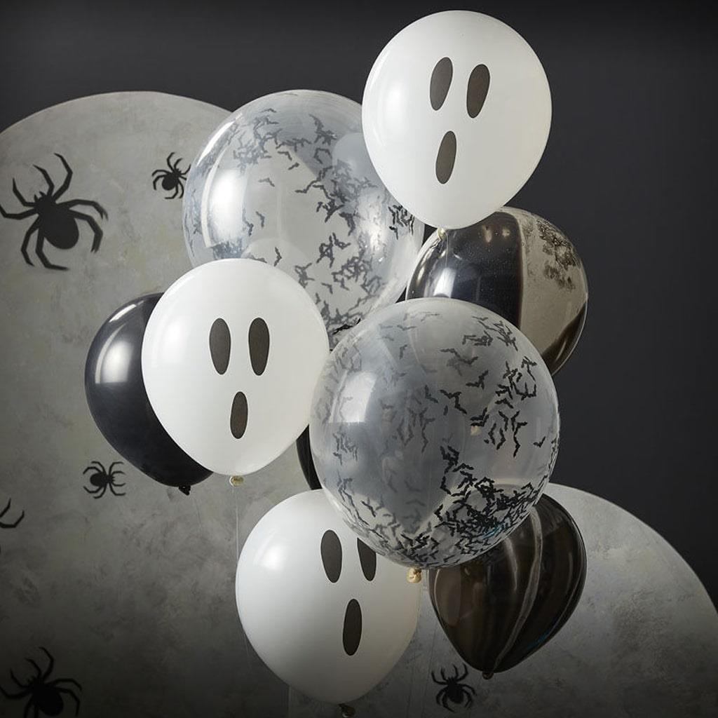 Balões Mármore Preto, Fantasmas e com Confetis Morcegos, 9 unid.