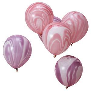 Balões Mármore Rosa e Roxo, 10 Unid.
