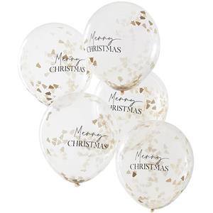 Balões Merry Christmas com Confetis Dourados Látex, 5 unid.