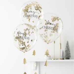 Balões Merry Christmas com Confetis e Fitas Douradas, 5 unid.