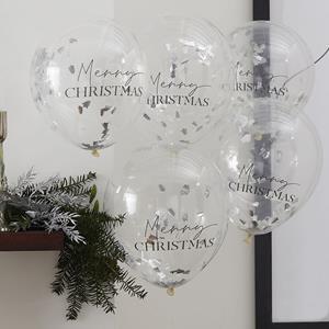 Balões Merry Christmas com Confetis Prateados Látex, 5 unid.