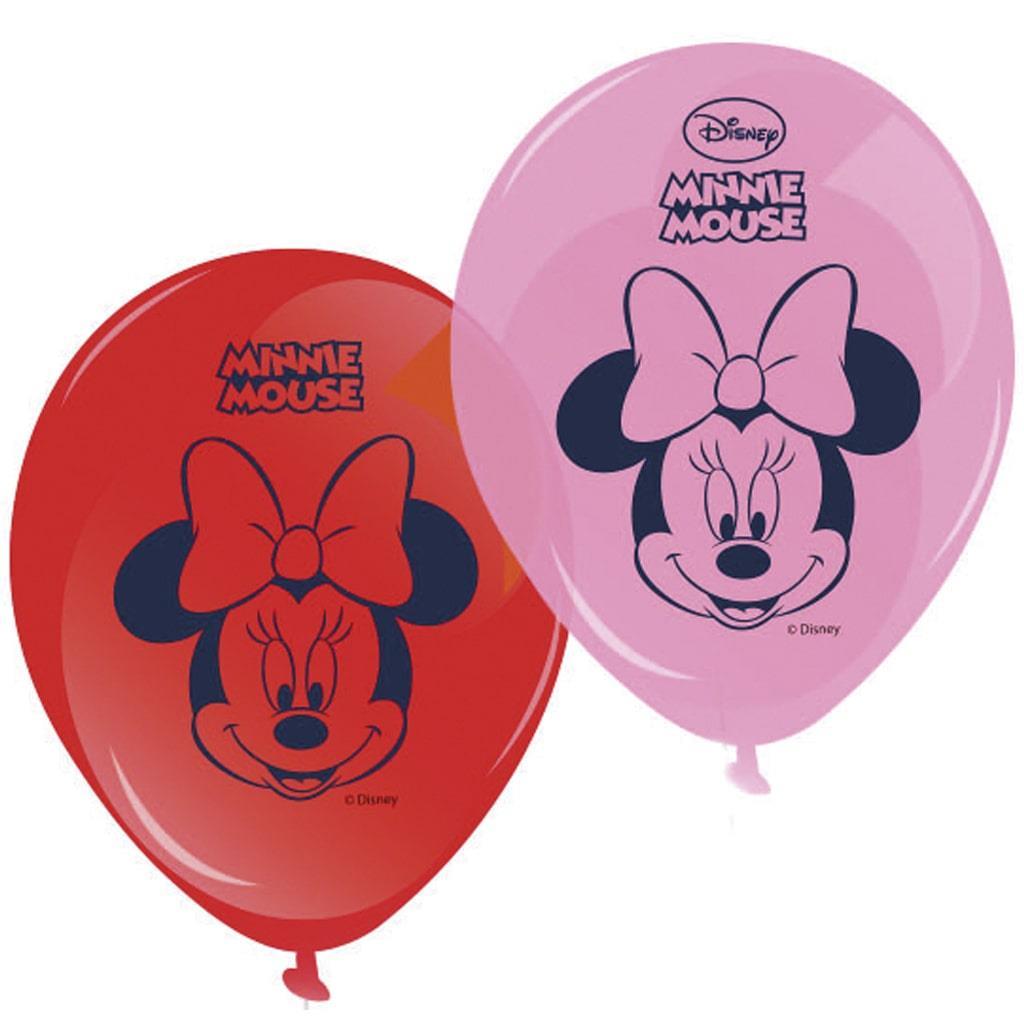 Balões Minnie 2 cores, 8 Unid.