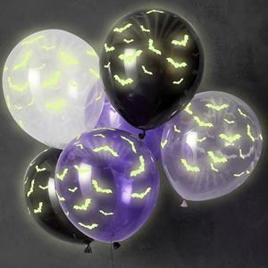 Balões Morcegos Fluorescentes Latex, 6 unid.