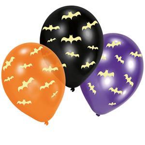 Balões Morcegos Glow in the Dark Látex, 6 unid.