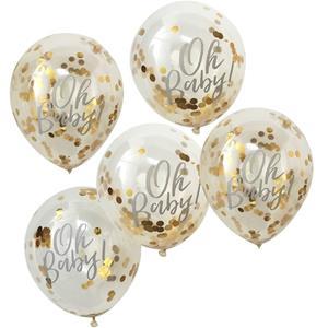 Balões Oh Baby com Confetis Dourados Látex, 5 unid.