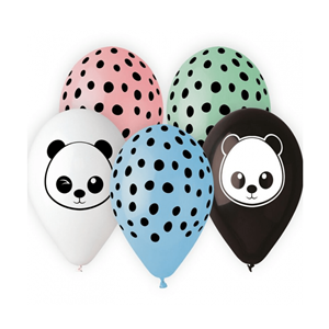 Balões Panda Multicor em Latex, 5 Unid.