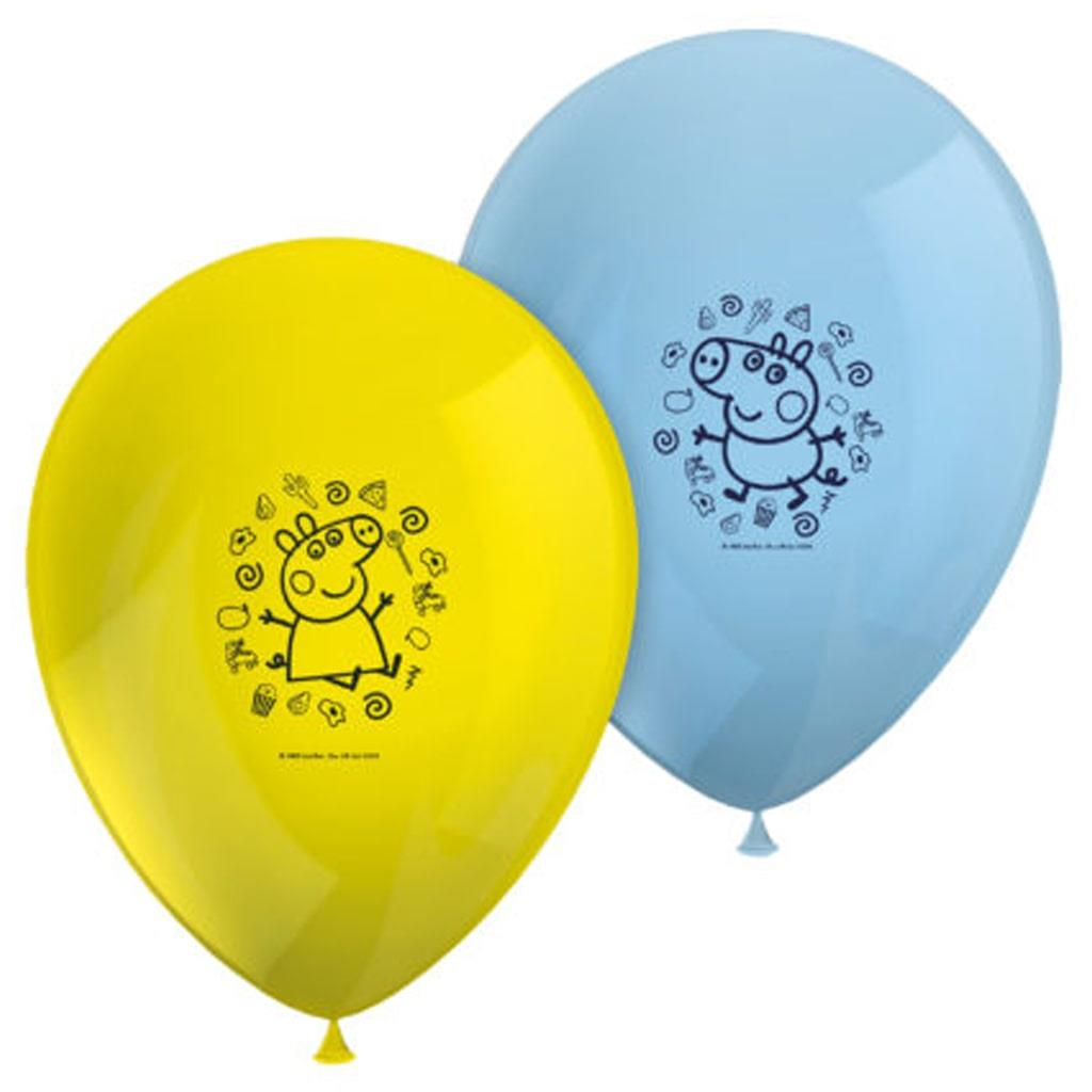 Balões Peppa Pig Latex, 8 unid.
