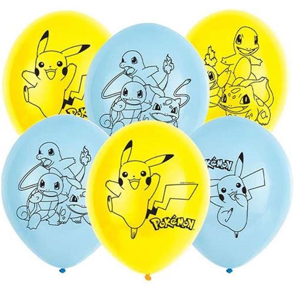 Balões Pokémon Amarelos e Azuis Látex, 6 unid.